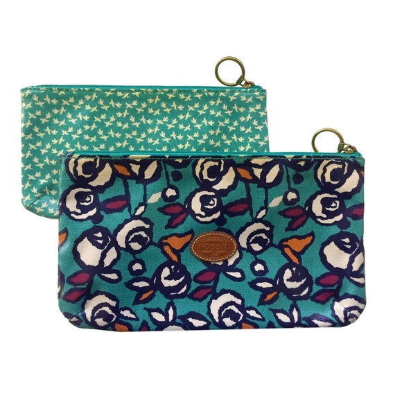 f357f6916 Fossil Bags   Coated Canvas Pouch Floral Turquoise Bird   Poshmark